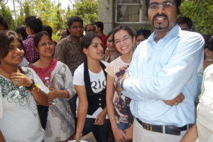 With students outside exam center cent